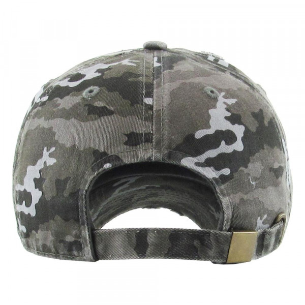 Vintage distressed camouflage baseball cap.   - Monagramable  - One size fits most - Adjustable back strap - 100% Cotton
