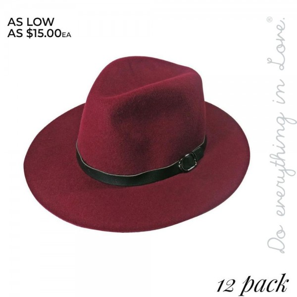 "Do everything in Love Brand Wool Felt Panama Hat Featuring Faux Leather Band. (12 PACK)  - One size fits most adults - Approximately 24"" W x 26"" L in outer diameter - Adjustable inside opening drawstring - 12 Hats Per Pack - 100% Wool"