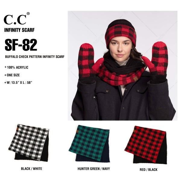 "C.C SF-82 Buffalo check knitted infinity scarf  - Approximately 14.5"" W x 58"" L - 100% Acrylic - Matches HAT-82 and MT-82"