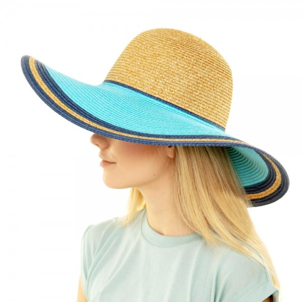 "Two tone wide brim floppy sun hat.  - One size fits most adults - Adjustable inside opening drawstring - 100% Paper Straw - Height approximately 5""  - Brim Width 5"" - Inside head circumference 15"""
