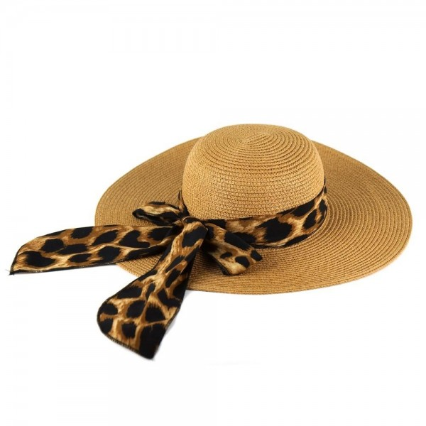 "Leopard print bow floppy summer hat.  - One size fits most adults - Adjustable inside opening drawstring - 100% Paper Straw - Height approximately 4.5""  - Brim Width 4.5"" - Inside head circumference 15"""