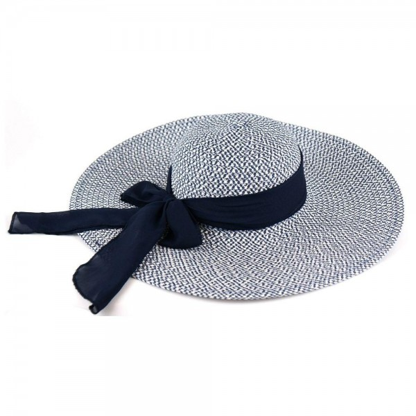 "Two tone mixed sheer bow wide brim floppy sun hat.  - One size fits most adults - Adjustable inside opening drawstring - 100% Paper Straw - Height approximately 5""  - Brim Width 5.5"" - Inside head circumference 15"""