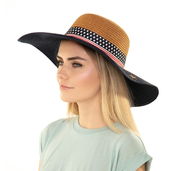 "Women's patriotic ribbon wide brim sun hat.  - One size fits most adults - Adjustable inside opening drawstring - 55% Paper, 45% Polyester - Height approximately 4"" - Brim Width 5"" - Inside head circumference 16"""
