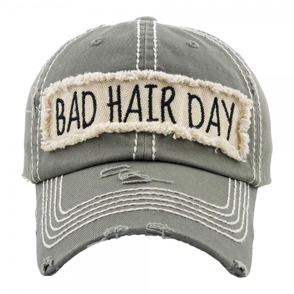 """Vintage Distressed """"Bad Hair Day"""" Embroidered Baseball Cap.  - One size fits most  - Adjustable velcro closure - 100% Cotton"""
