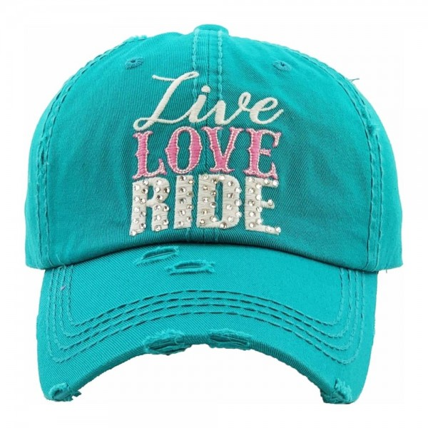 """Rhinestone """"Live Love Ride"""" embroidered vintage distressed baseball cap.  - One size fits most - Adjustable velcro closure - 100% Cotton"""