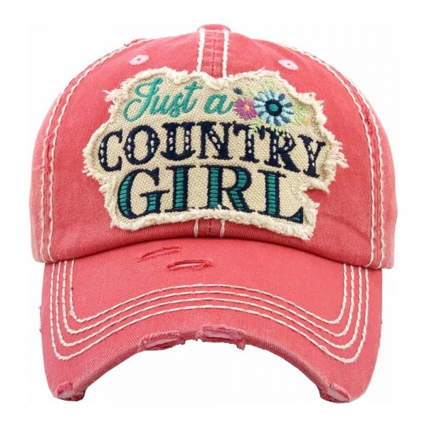 """""""Just a Country Girl"""" floral embroidered vintage distressed baseball cap.  - One size fits most - Adjustable velcro closure - 100% Cotton"""