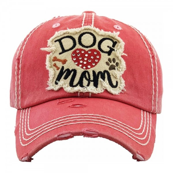 """Rhinestone 'Dog Mom"""" embroidered vintage distressed baseball cap.  - One size fits most - Adjustable velcro closure - 100% Cotton"""