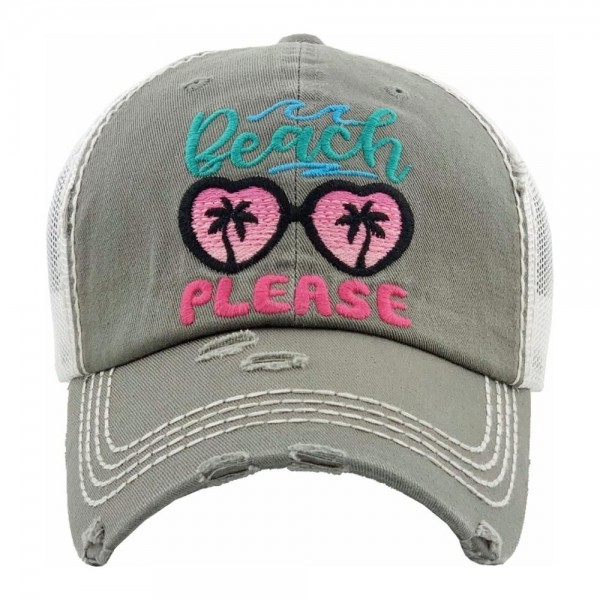 """""""Beach Please"""" Embroidered Distressed Vintage Style Baseball Cap with Mesh Back.   - One size fits most - Adjustable Velcro Closure - 100% Cotton"""