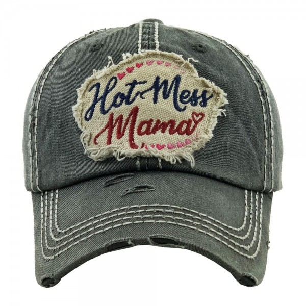 """""""Hot Mess Mama"""" Embroidered Distressed Vintage Style Baseball Cap.  - One size fits most  - Adjustable Velcro Closure - 100% Cotton"""