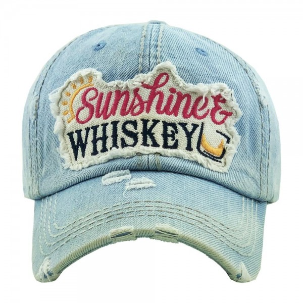 """""""Sunshine & Whiskey"""" embroidered vintage distressed baseball cap.  - One size fits most  - Adjustable velcro closure - 100% Cotton"""