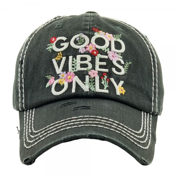 """""""GOOD VIBES ONLY"""" floral embroidered vintage distressed baseball cap.  - One size fits most  - Adjustable velcro closure - 100% Cotton"""