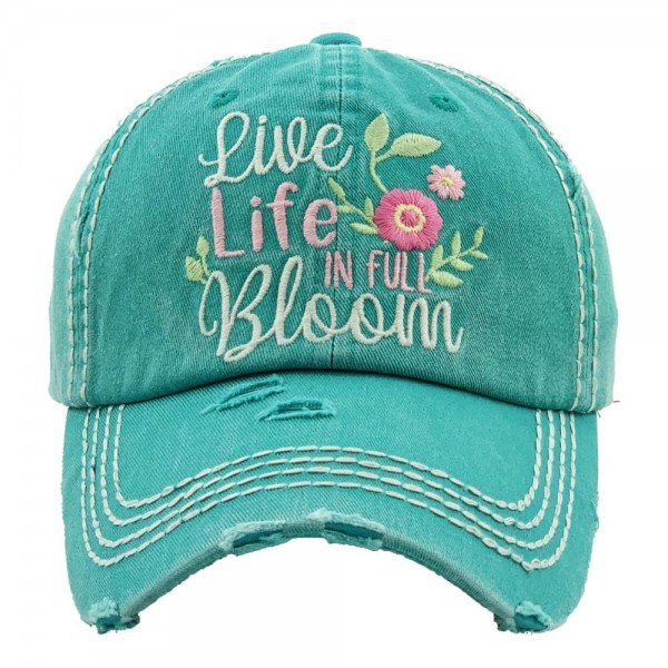 """""""Live Life in Full Bloom"""" Floral Embroidered Distressed Vintage Style Baseball Cap.  - One size fits most  - Adjustable Velcro Closure - 100% Cotton"""