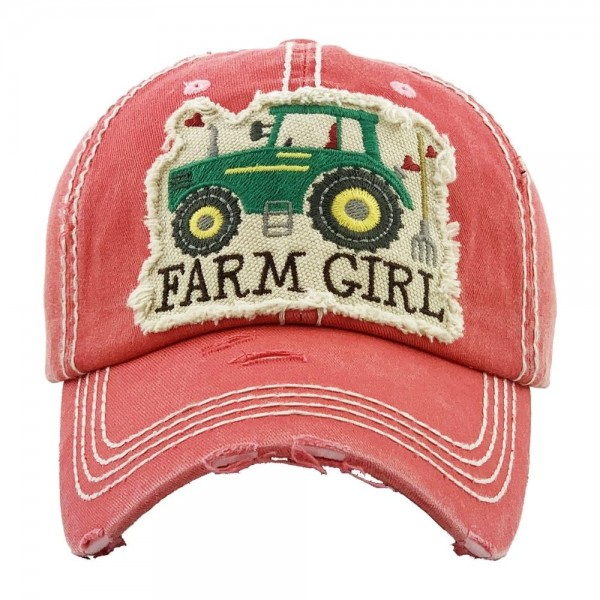 """""""Farm Girl"""" Embroidered Distressed Vintage Style Baseball Cap.  - One size fits most  - Adjustable Velcro Closure - 100% Cotton"""