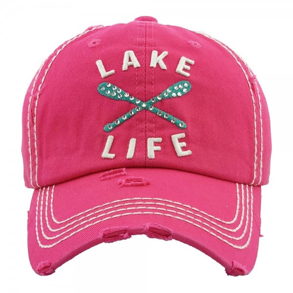 """Rhinestone """"Lake Life"""" embroidered vintage distressed baseball cap.  - One size fits most  - Adjustable velcro closure - 100% Cotton"""