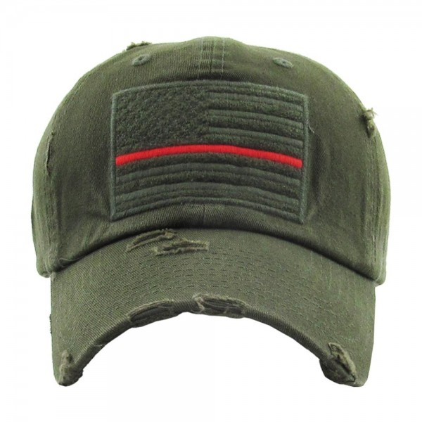 "Distressed ""Thin Red Line"" American Flag embroidered baseball cap.  - One size fits most - Adjustable back strap - 100% Cotton"