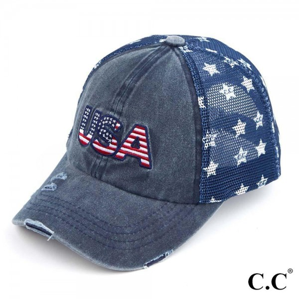 C.C BA-921-USA Vintage USA Baseball Cap with Star Details  - One size fits most - Adjustable Velcro Closure - 60% Cotton / 40% Polyester