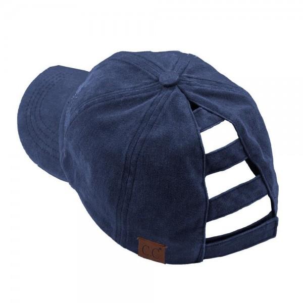 C.C BT-779 Distressed washed denim ladder ponytail cap.  - One size fits most - Adjustable velcro closure - 100% Cotton