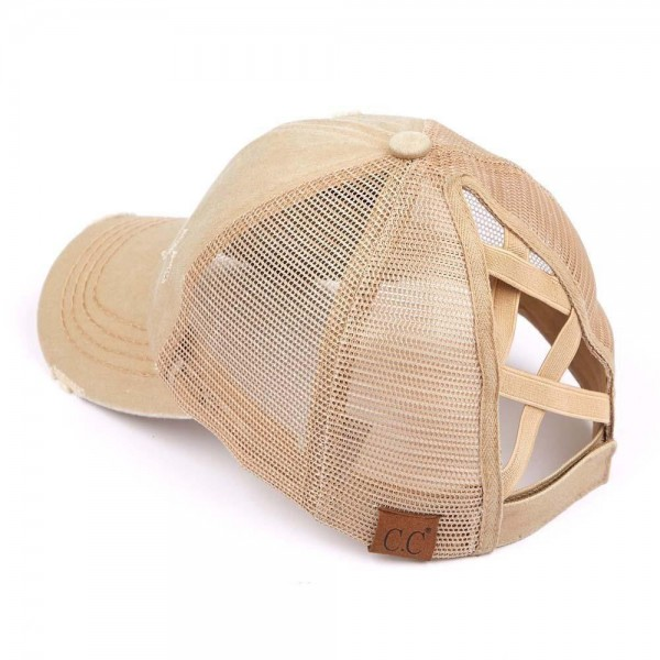 C.C Pony Cap BT-780 Distressed Criss Cross Pony Cap with Mesh Back   - One size fits most - Elastic criss cross pony tail opening  - Adjustable Velcro Closure - 60% Cotton / 40% Polyester