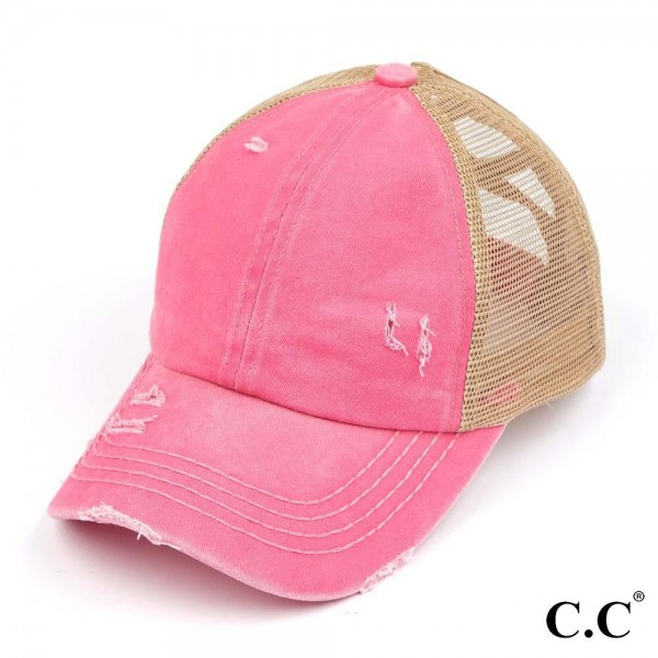 C.C Pony Cap BT-780 Distressed Pony Cap with Mesh and Elastic Criss Cross Detail  - One size fits most - Elastic criss cross pony tail opening  - Adjustable Velcro Closure - 60% Cotton / 40% Polyester