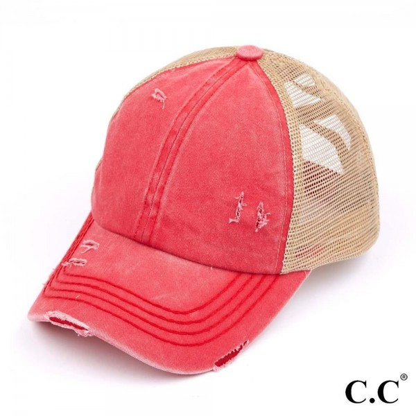 Wholesale c C Pony Cap BT Distressed Criss Cross Pony Cap Mesh Back One fits mos