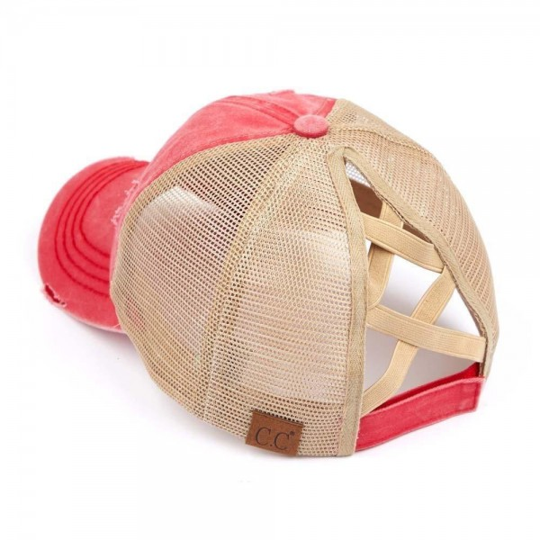 C.C Pony Cap BT-780 Distressed Criss Cross Pony Cap with Mesh Back   - One size fits most - Elastic criss cross ponytail opening  - Adjustable Velcro Closure - 60% Cotton / 40% Polyester