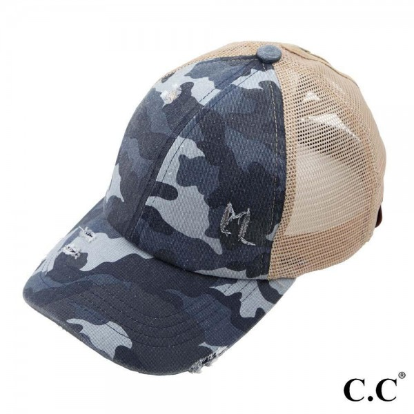 C.C BT-783 Vintage Distressed Camouflage Criss-Cross High PonyTail Cap with Mesh Back.  - Elastic Criss Cross Back Feature - Can Be Worn Multiple Ways - Adjustable Velcro Closure - One size fits most - 60% Cotton / 40% Polyester