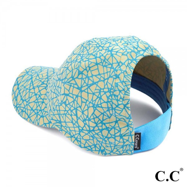 "C.C Sports Cap BT-784  Reflective Geometric Athleisure Pony Cap  - 1.5"" elastic band  - Two way stretch  - Ultra lightweight  - One size fits most - 100% Polyester"