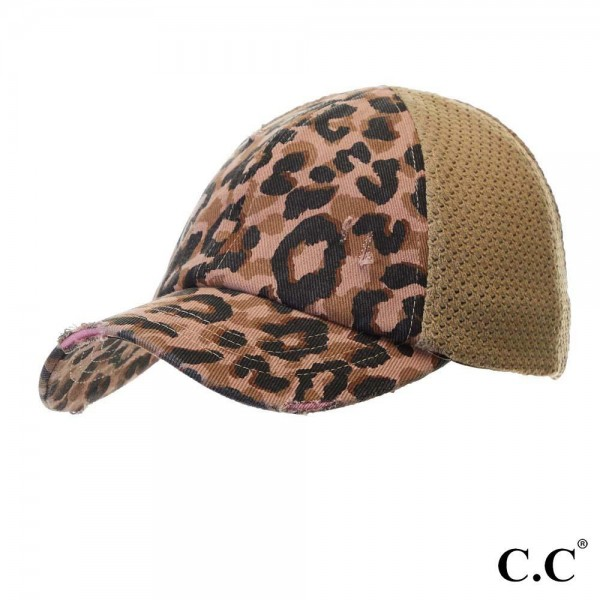 Wholesale c C BT Leopard distressed vintage pony cap knit mesh back Cotton Polye