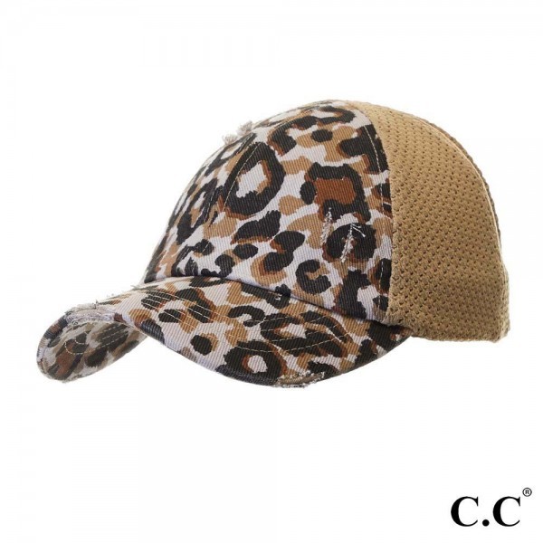 "C.C. BT-786 Leopard distressed vintage pony cap with knit mesh back  - 60% Cotton, 35% Polyester, 5% Spandex - 1.5"" elastic band - Two way stretch - Ultra lightweight"