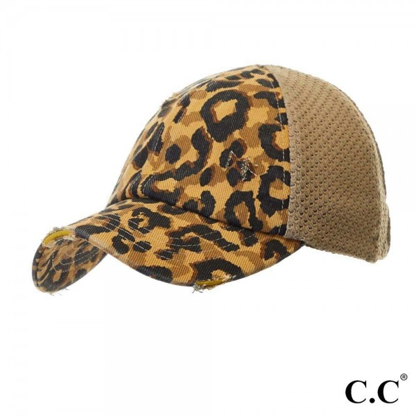 Wholesale c C BT Leopard Print Distressed Baseball Cap Knit Mesh Back elastic ba