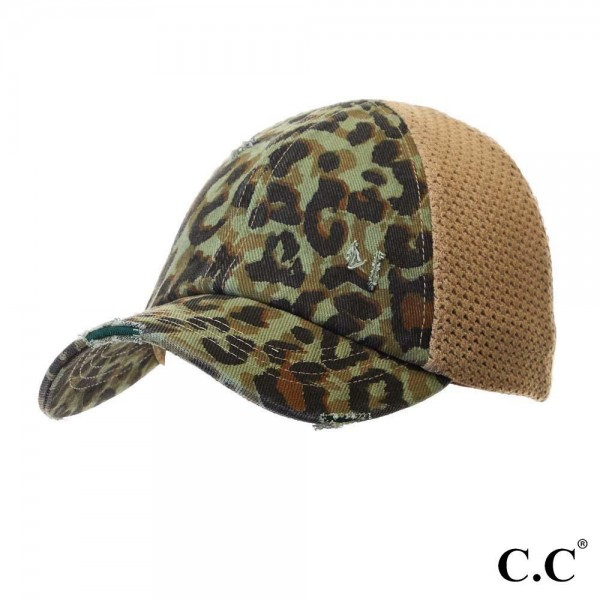 "C.C BT-786 Leopard Print Distressed Baseball Cap with Knit Mesh Back  - 1.5"" Elastic band - Two way stretch - Ultra lightweight - 60% Cotton / 35% Polyester / 5% Spandex"