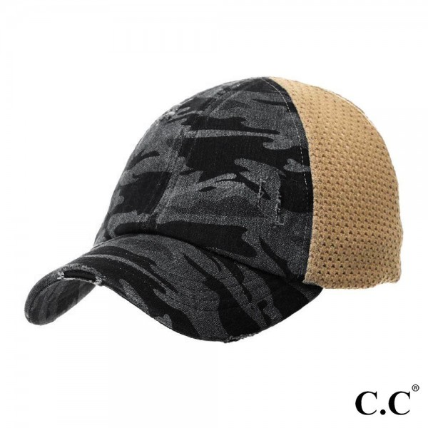 C.C. BT-787 Distressed Camouflage Baseball Cap with Mesh Back  - One size fits most - 1.5 Elastic Band in Back  - Two Way Stretch - Ultra Lightweight - 60% Cotton / 35% Polyester / 5% Spandex