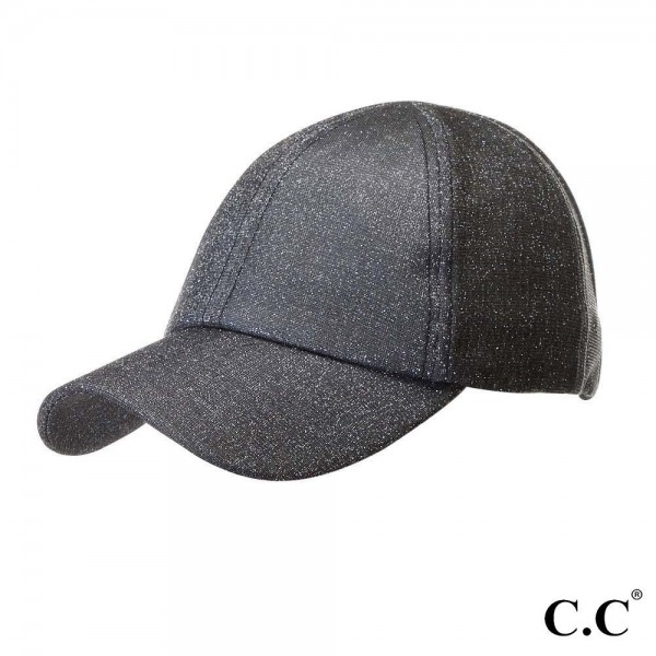 "C.C Sports Cap BT-790 Glitter athleisure pony cap  - 1.5"" elastic band - Two way stretch - Ultra lightweight - One size fits most - 100% Polyester"