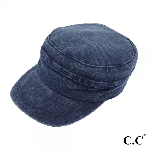 C.C BZ-771  2 in 1 washed denim army hat / sun visor  - Hidden zipper - Two way style  - Adjustable velcro closure  - One size fits most - 100% Cotton