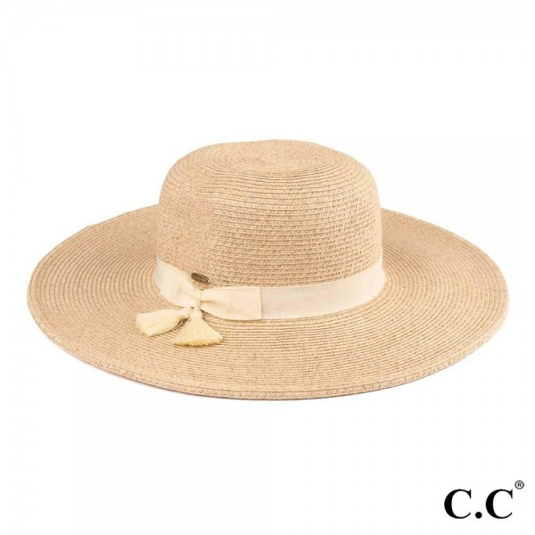 "C.C ST-505 Mixed paper straw sun hat with tassel ribbon  - One size fits most - Inside adjustable drawstring - Brim width 4.5""  - 88% Paper, 12% Polyester"