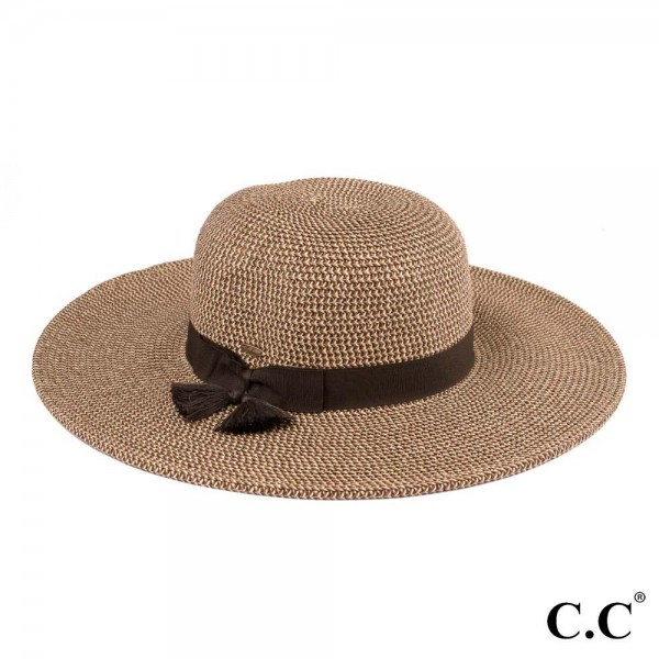 """C.C ST-505 Mixed paper straw sun hat with tassel ribbon  - One size fits most - Inside adjustable drawstring - Brim width 4.5""""  - 88% Paper, 12% Polyester"""