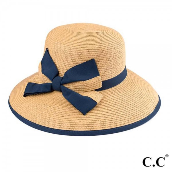 "C.C ST-519 Wide brim sun hat with decorative ribbon and bow  - UPF 50+ - One size fits most - Inside adjustable drawstring - Brim width 4"" - 88% Paper, 12% Polyester"