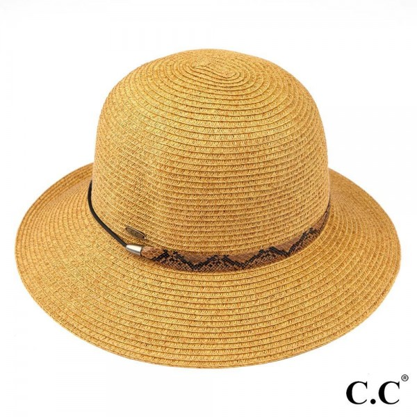 C.C ST-801 Sunhat with decorative ribbon. - 80% paper straw and 20% polyester. - UPF 50+ - One size fits most - Inside adjustable drawstring