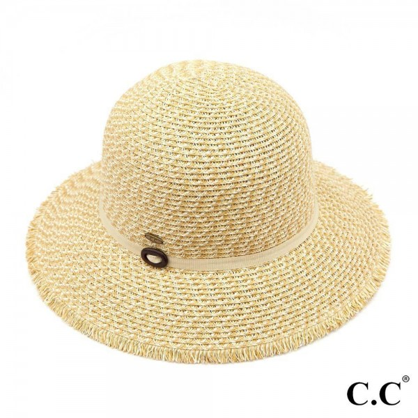 C.C ST-806 Multi colored sunhat with decorative ribbon.  - 80% paper straw and 20% polyester.  - UPF 50+ - One size fits most - Inside adjustable drawstring