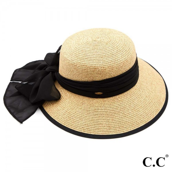 "C.C ST-811 (Sand) Sand paper brim sun hat with chiffon sash bow  - One size fits most  - Inside adjustable drawstring  - Brim width 4""  - 88% Paper, 12% Polyester"