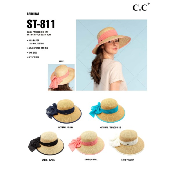 """C.C ST-811 (Sand) Sand paper brim sun hat with chiffon sash bow  - One size fits most  - Inside adjustable drawstring  - Brim width 4""""  - 88% Paper, 12% Polyester"""