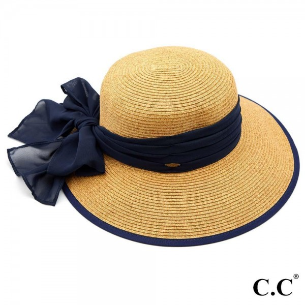 """C.C ST-811 (Natural) Sand paper brim sun hat with chiffon sash bow  - One size fits most  - Inside adjustable drawstring  - Brim width 4""""  - 88% Paper, 12% Polyester"""