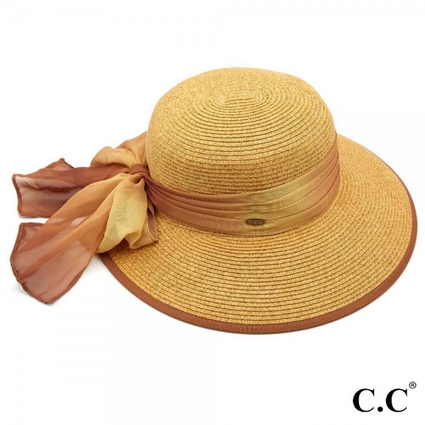 """C.C ST-812 (Natural) Paper brim sun hat with ombre chiffon sash bow  - One size fits most - Inside adjustable drawstring - Brim width 4""""  - 88% Paper, 12% Polyester"""