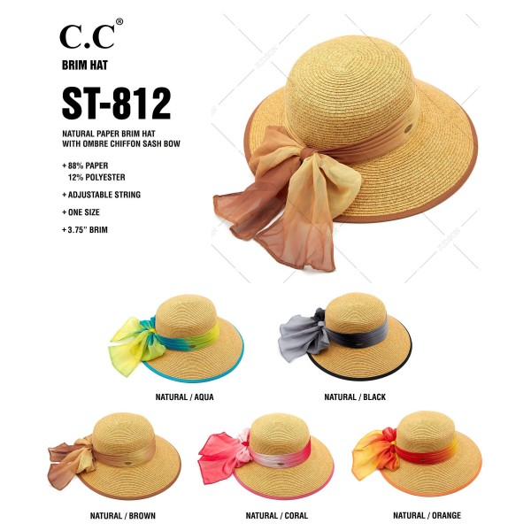 "C.C ST-812 (Natural) Paper brim sun hat with ombre chiffon sash bow  - One size fits most - Inside adjustable drawstring - Brim width 4""  - 88% Paper, 12% Polyester"