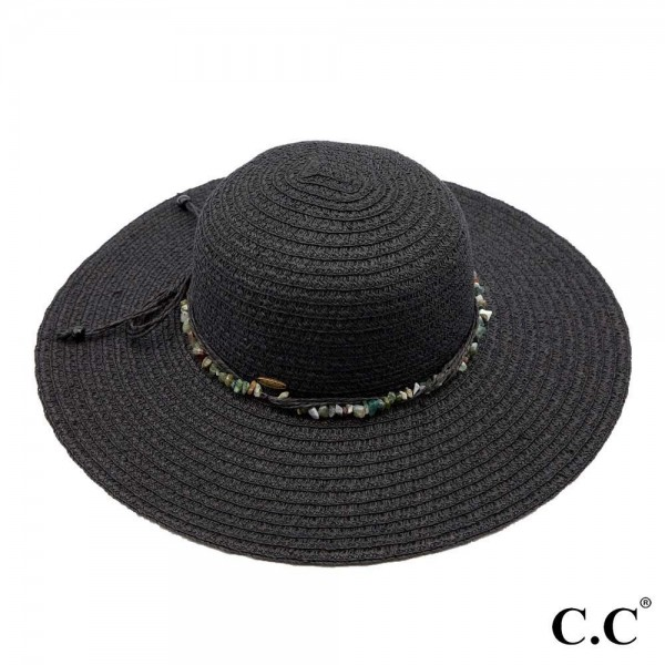 "C.C ST-813 Wide brim sun hat with decorative natural stone inspired string   - UPF 50+ - One size fits most - Inside adjustable drawstring - Brim width 4"" - 80% Paper, 20% Polyester"