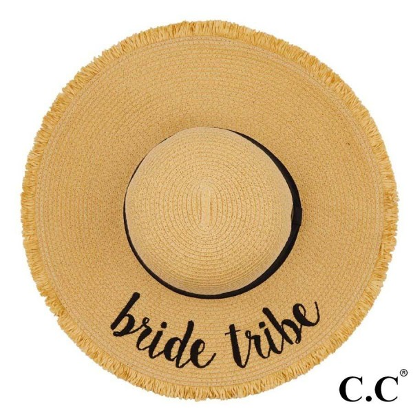 "C.C ST-2025 (Natural) Bride Tribe paper straw fringe trim wide brim sun hat with ribbon  - One size fits most - Inside adjustable drawstring - Brim width 4.5"" - 100% Paper"