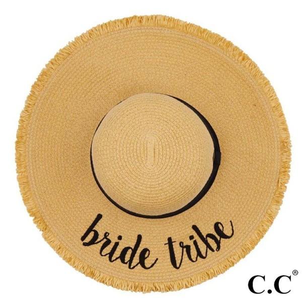 "C.C ST-2025 (Natural) Bride Tribe paper straw fringe trim wide brim sun hat with ribbon  - One size fits most - Inside adjustable drawstring - Brim width 4.5"" - 100% Paper"