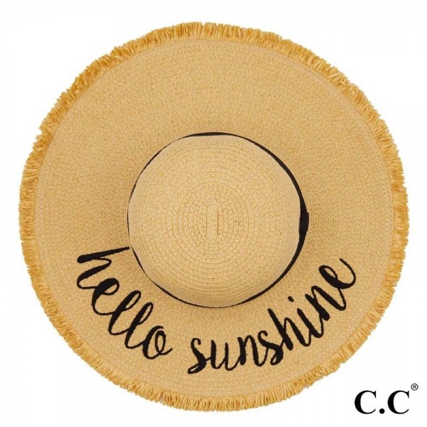 "C.C ST-2025 (Natural) Hello Sunshine paper straw fringe trim wide brim sun hat with ribbon  - One size fits most - Inside adjustable drawstring - Brim width 4.5""  - 100% Paper"