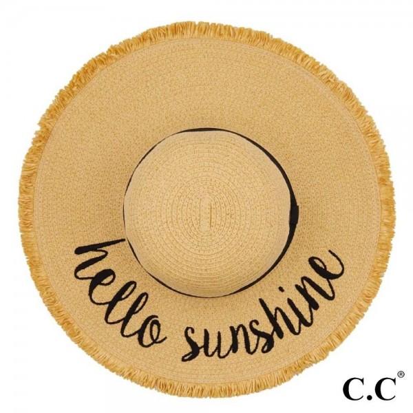 "C.C ST-2025 (Natural) Hello Sunshine paper straw fringe trim wide brim sun hat with ribbon  - One size fits most - Inside adjustable drawstring - Brim width 4.5""  - 100% Paper"