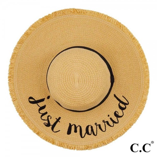 "C.C ST-2025 (Natural) Just Married paper straw fringe trim wide brim sun hat with ribbon  - One size fits most - Inside adjustable drawstring - Brim width 4.5"" - 100% Paper"
